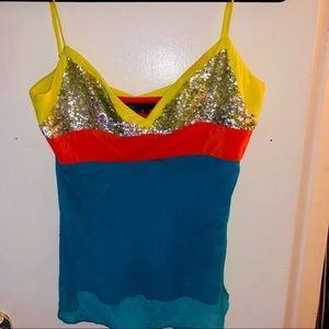 Bcbg Silk Sequin Dress Top